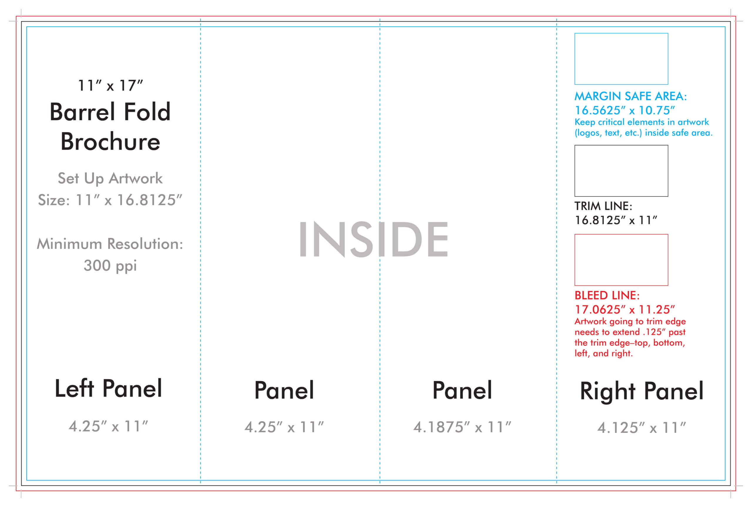 "11"" X 17"" Barrel Fold Brochure Template - U.s. Press In 4 Panel Brochure Template"