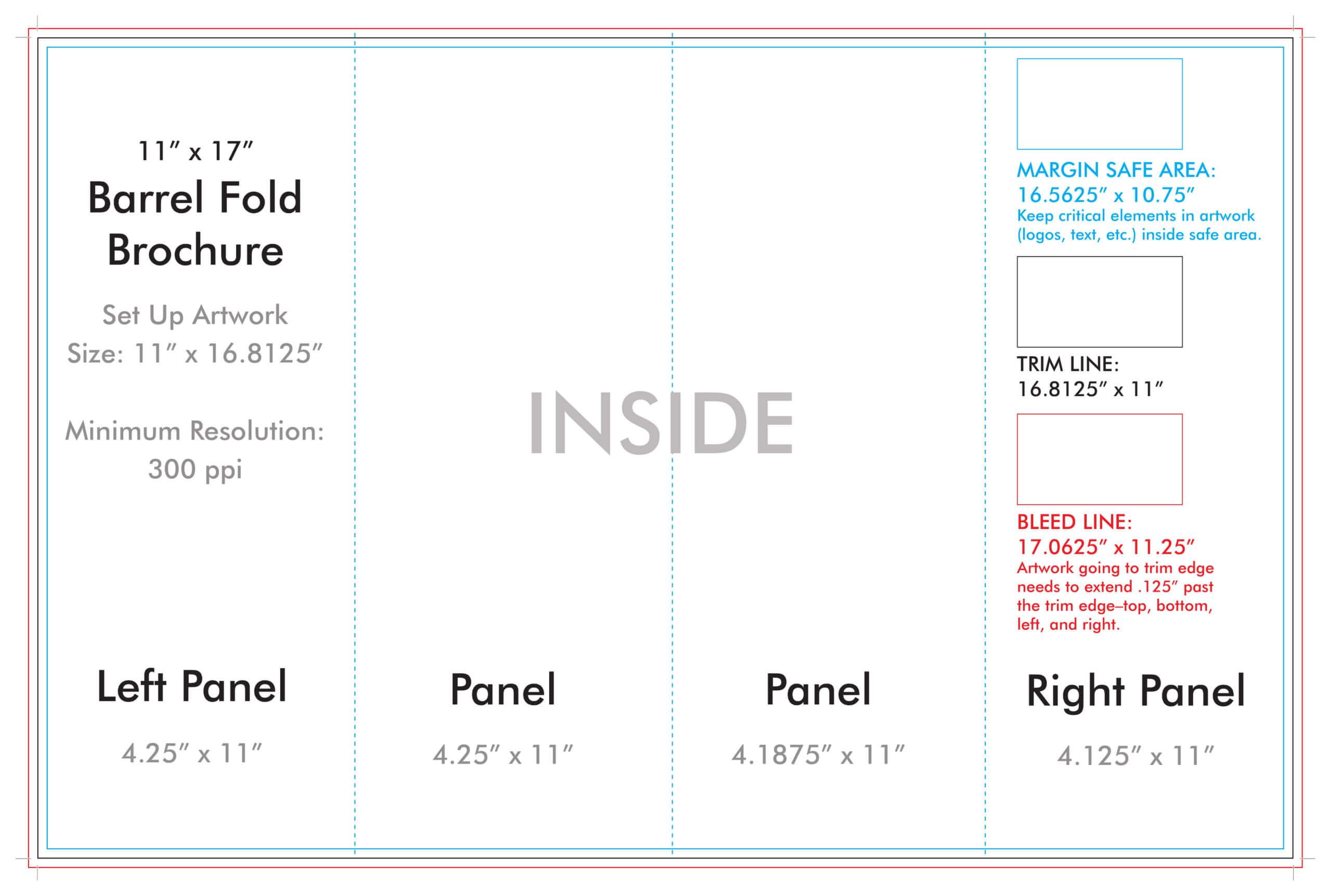 "11"" X 17"" Barrel Fold Brochure Template – U.s. Press Inside Brochure Folding Templates"