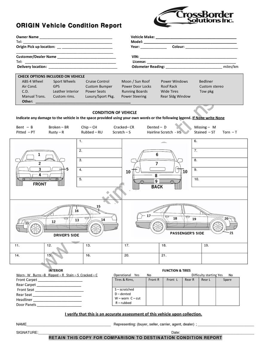 12+ Vehicle Condition Report Templates - Word Excel Samples With Truck Condition Report Template