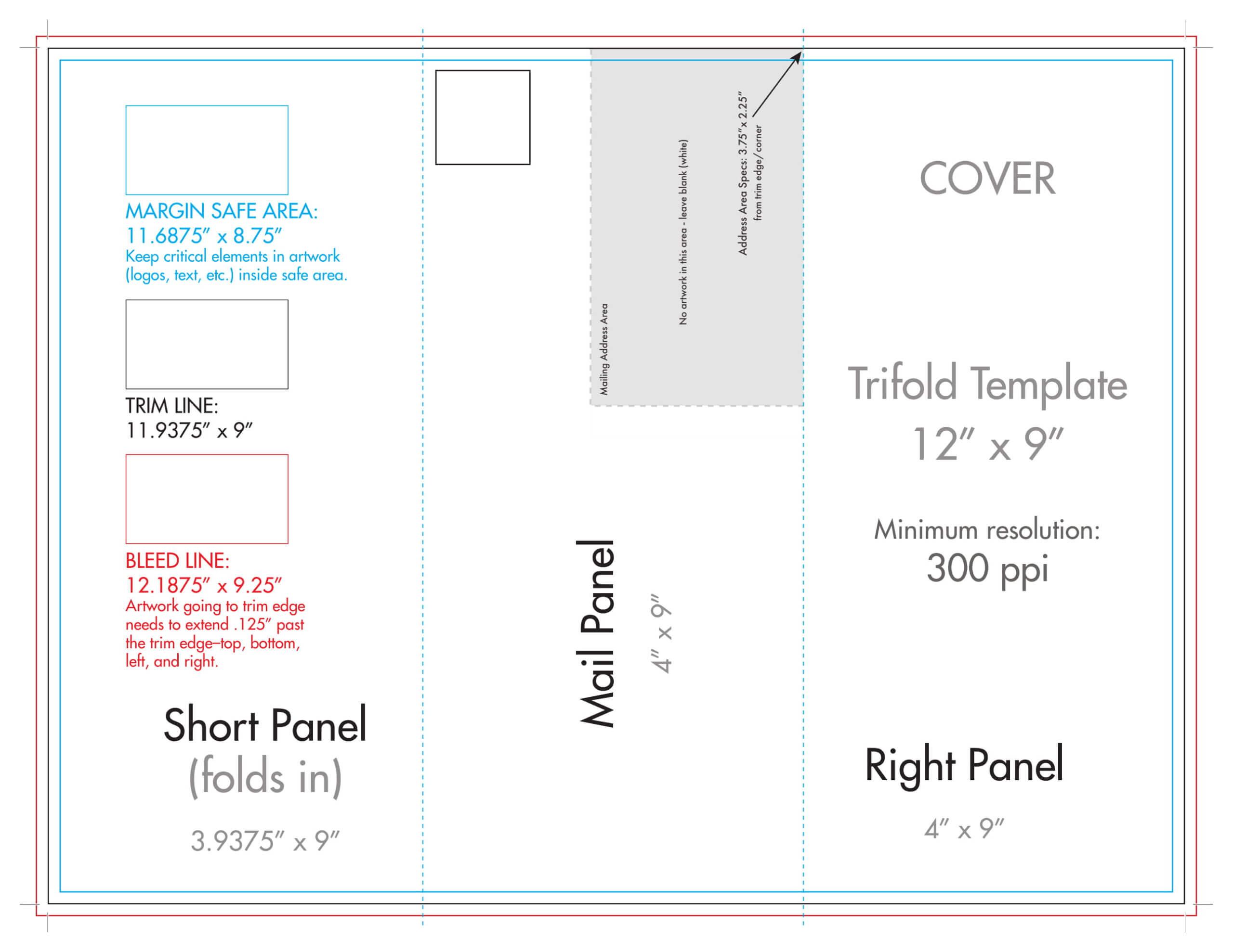 "12"" X 9"" Rack Brochure Template (Tri Fold) – U.s. Press Regarding Brochure Folding Templates"
