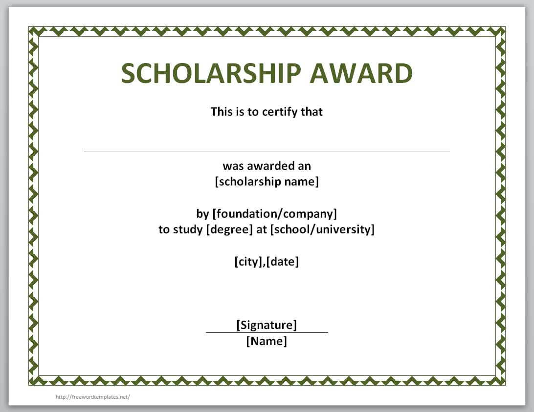13 Free Certificate Templates For Word » Officetemplate Regarding Scholarship Certificate Template Word