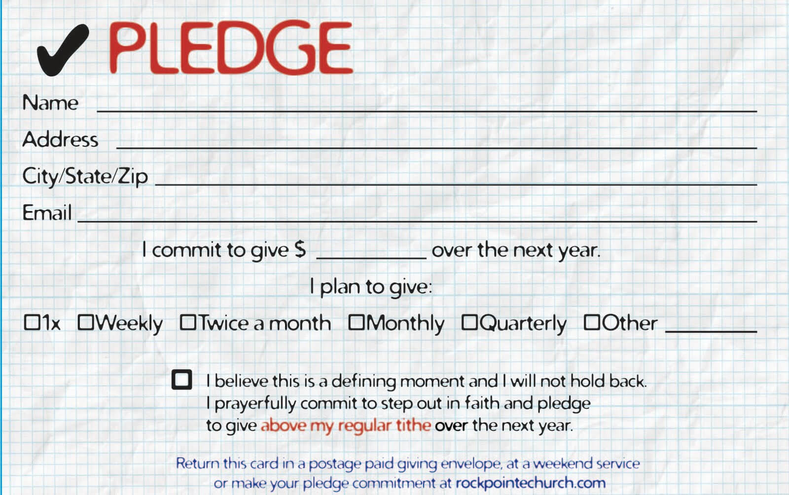 16518 Card Free Clipart - 22 Regarding Pledge Card Template For Church