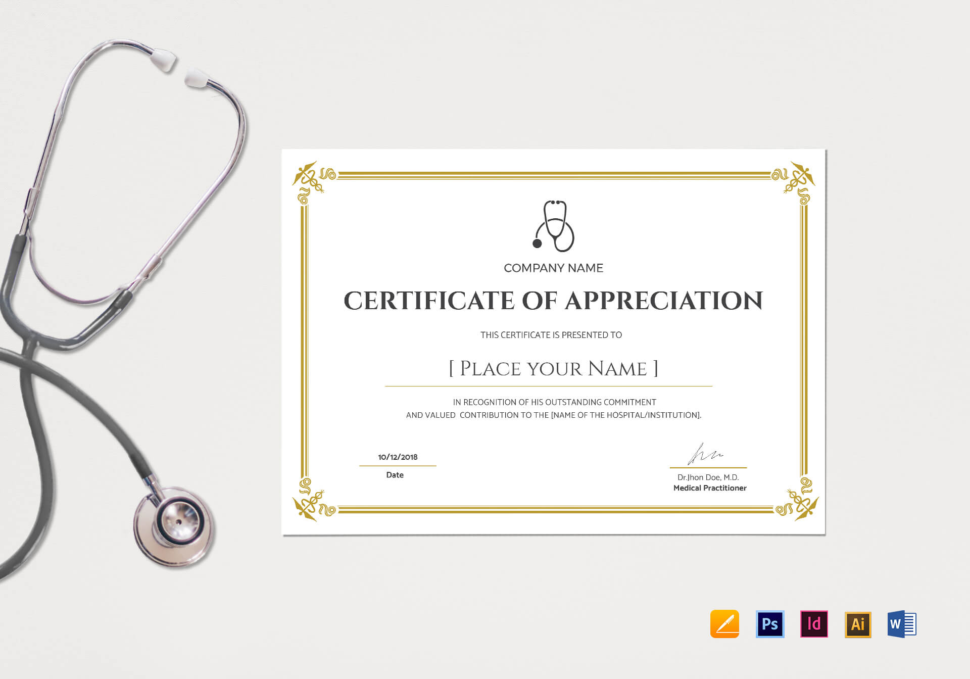 20+ Doctor Certificates Template | Sowtemplate With Regard To Mock Certificate Template