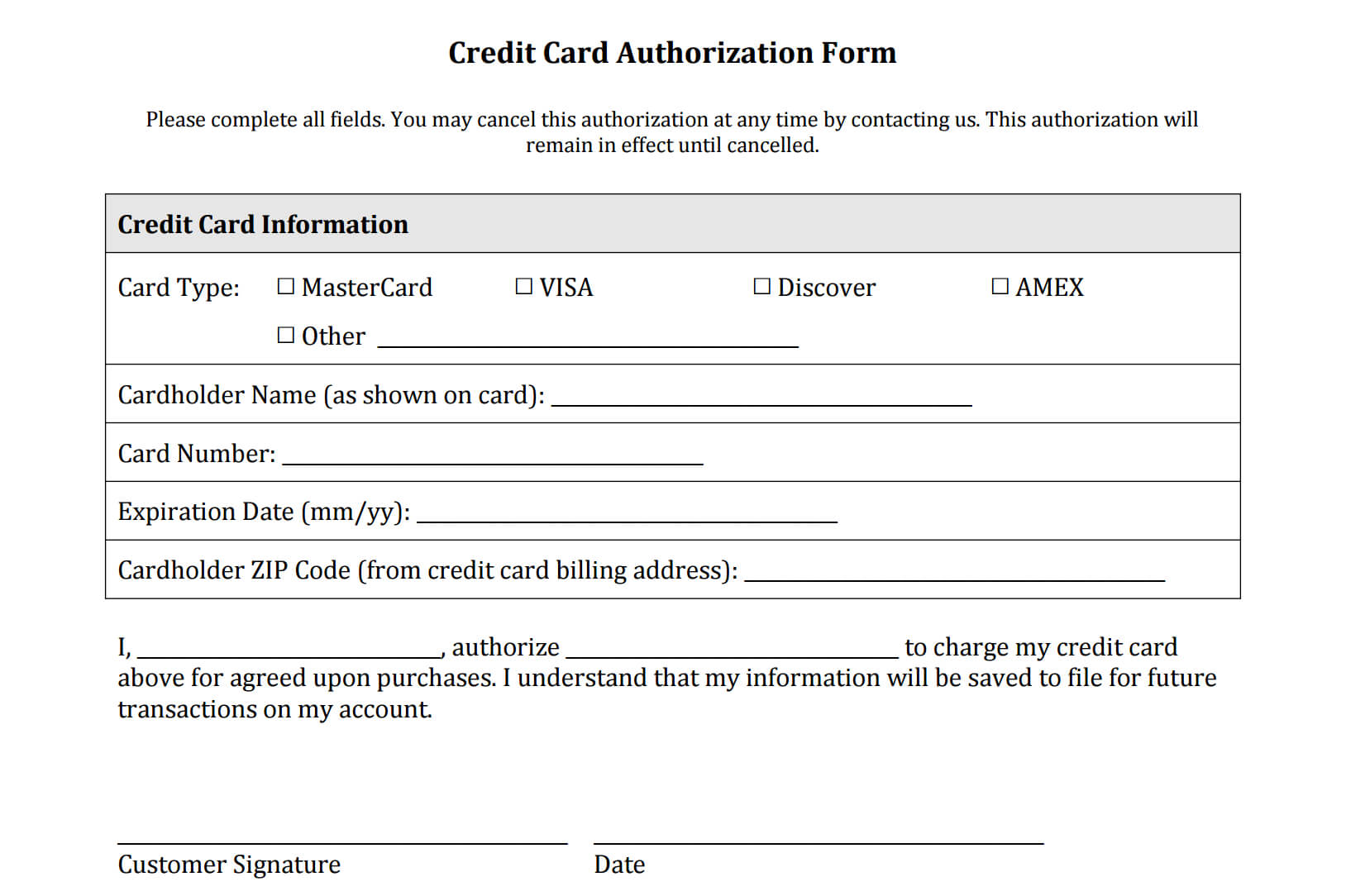 21+ Credit Card Authorization Form Template Pdf Fillable 2019!! Throughout Credit Card On File Form Templates