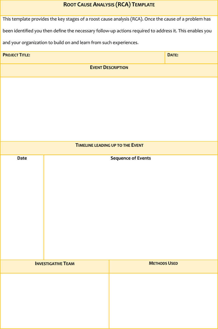 24+ Root Cause Analysis Templates (Word, Excel, Powerpoint Regarding Failure Analysis Report Template