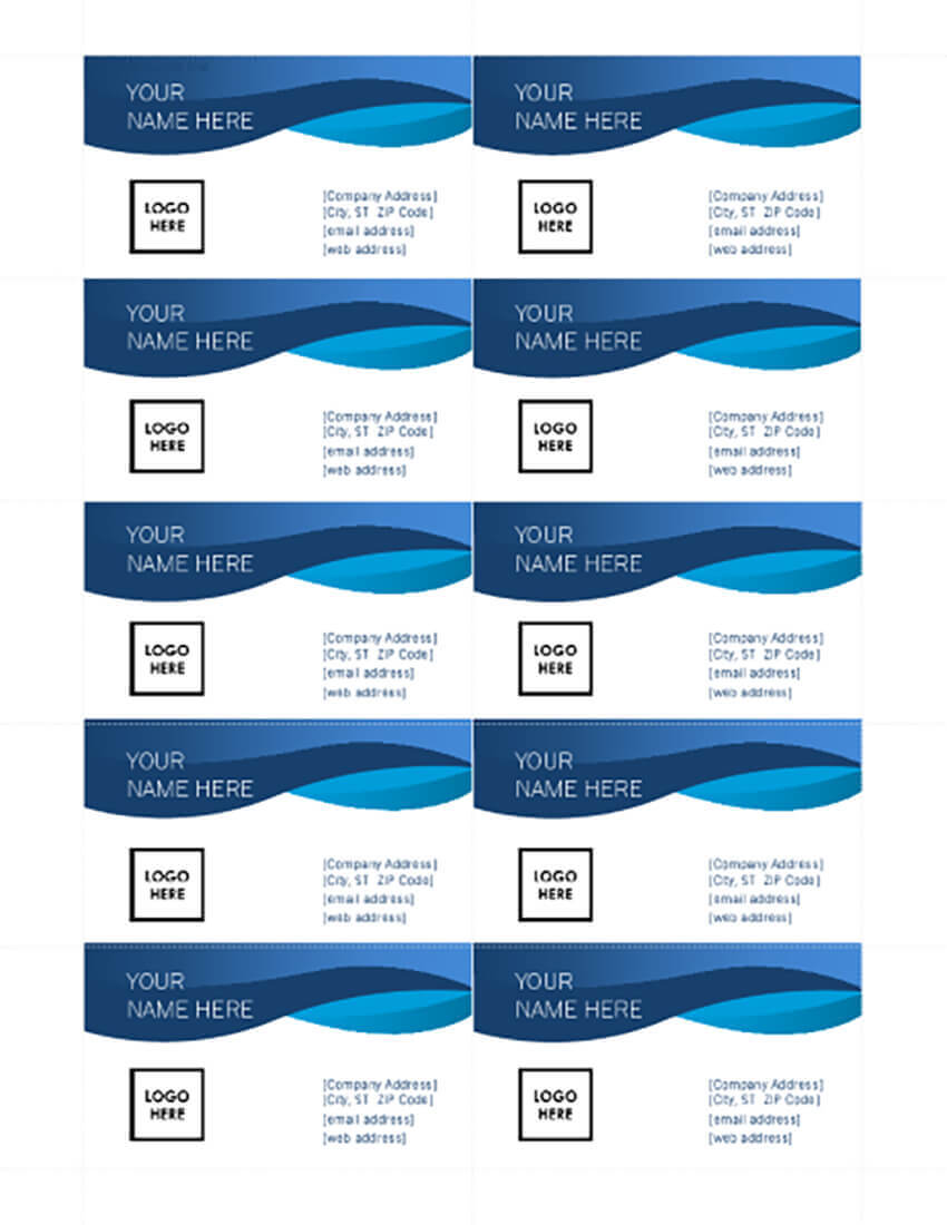 25+ Free Microsoft Word Business Card Templates (Printable With Ms Word Business Card Template