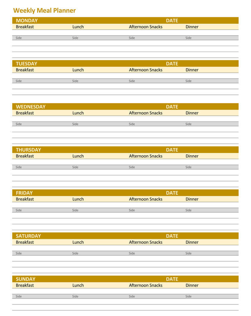 25+ Free Weekly/daily Meal Plan Templates (For Excel And Word) For Weekly Meal Planner Template Word