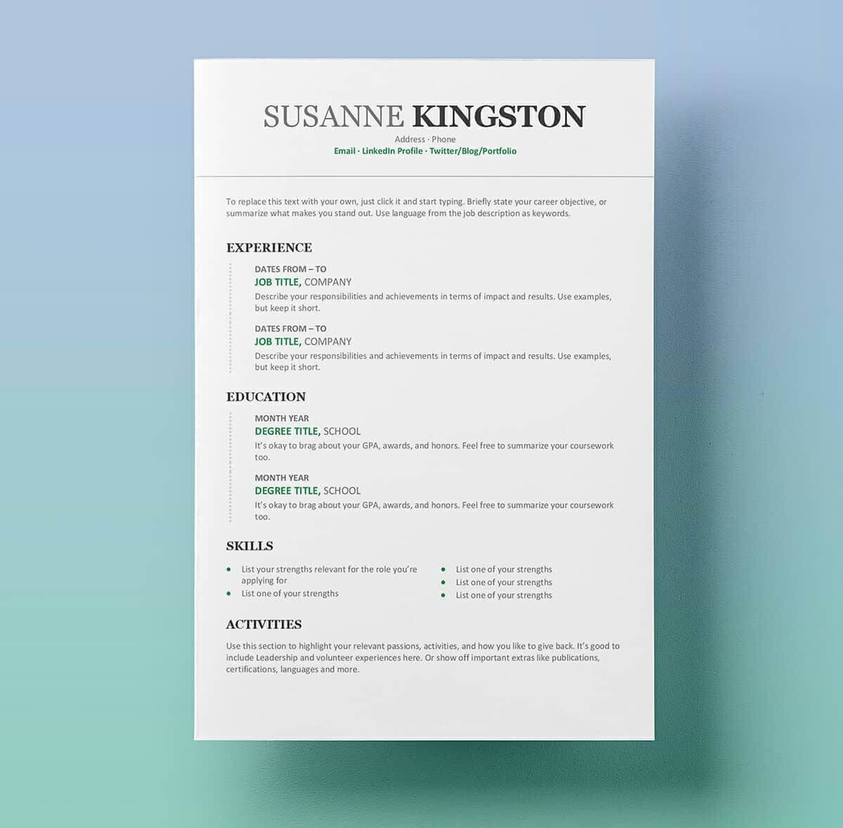 25 Resume Templates For Microsoft Word [Free Download] In Microsoft Word Resume Template Free