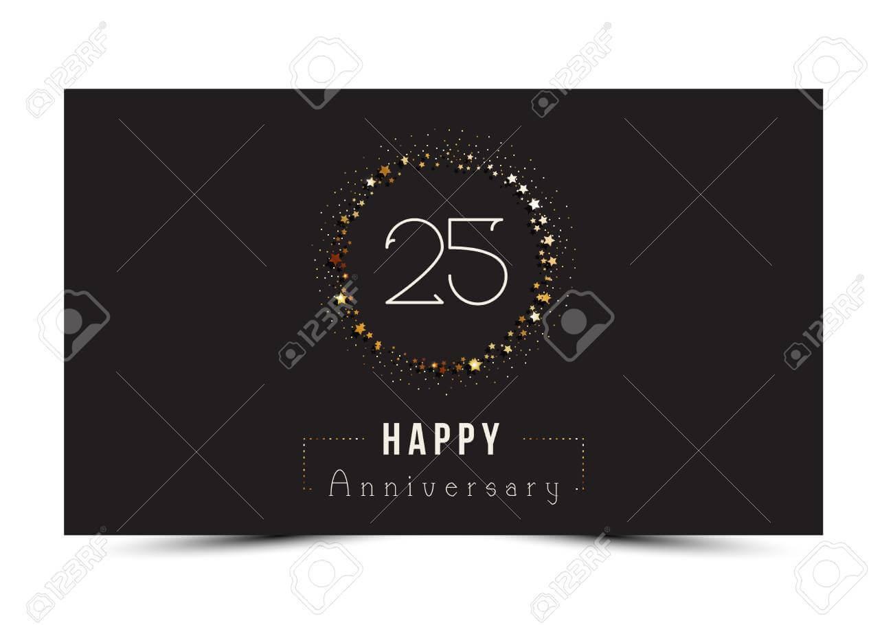 25 Years Happy Anniversary Card Template With Gold Stars. With Regard To Template For Anniversary Card