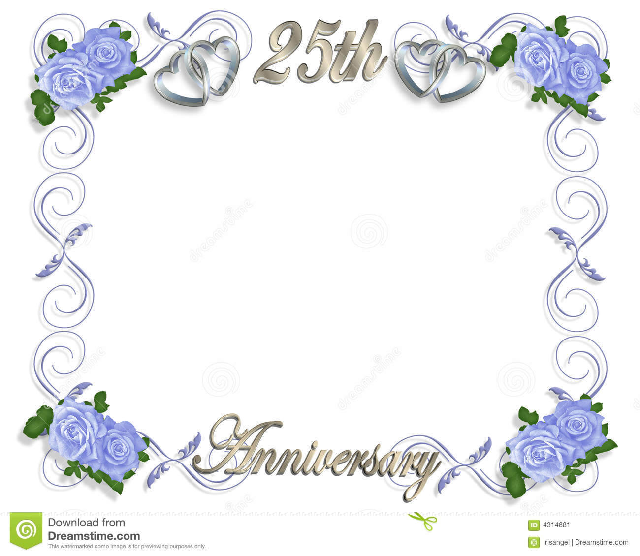 25Th Anniversary Template Stock Illustration. Illustration With Regard To Template For Anniversary Card