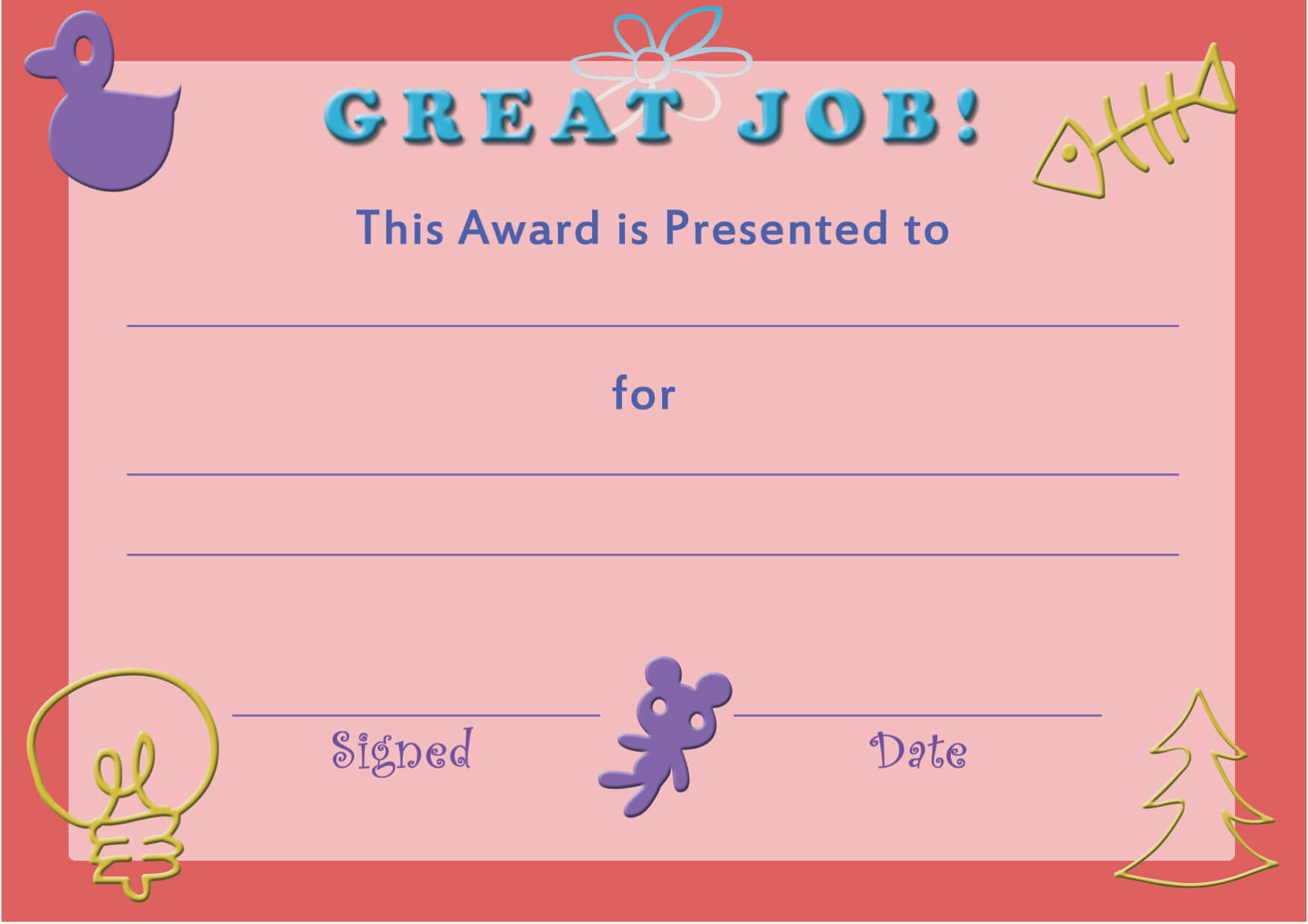 28+ [ Free Printable Certificate Templates For Kids Throughout Certificate Of Achievement Template For Kids