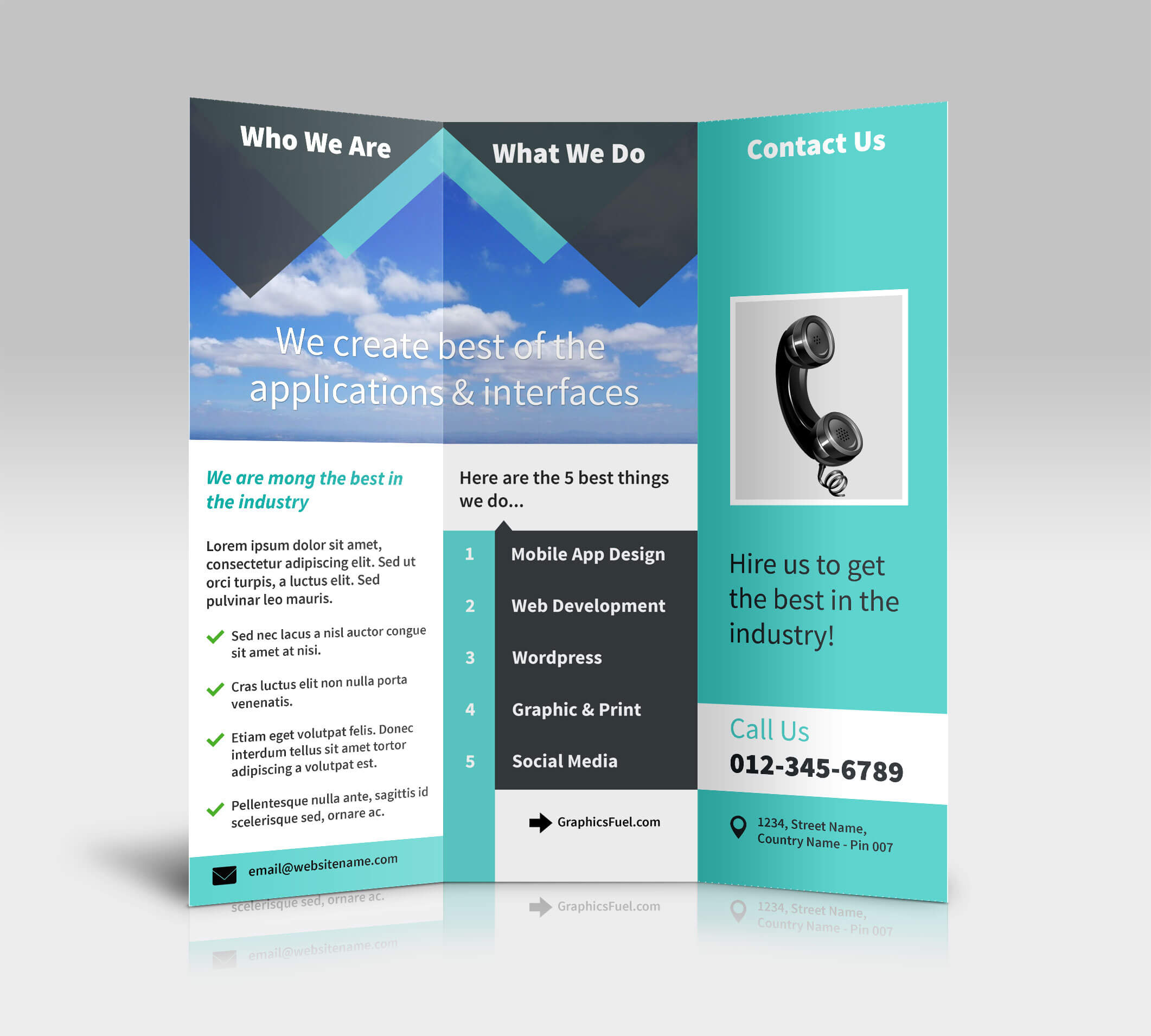3 Panel Tri Fold Brochure Psd Mockups - Psd Mockups In 3 Fold Brochure Template Psd