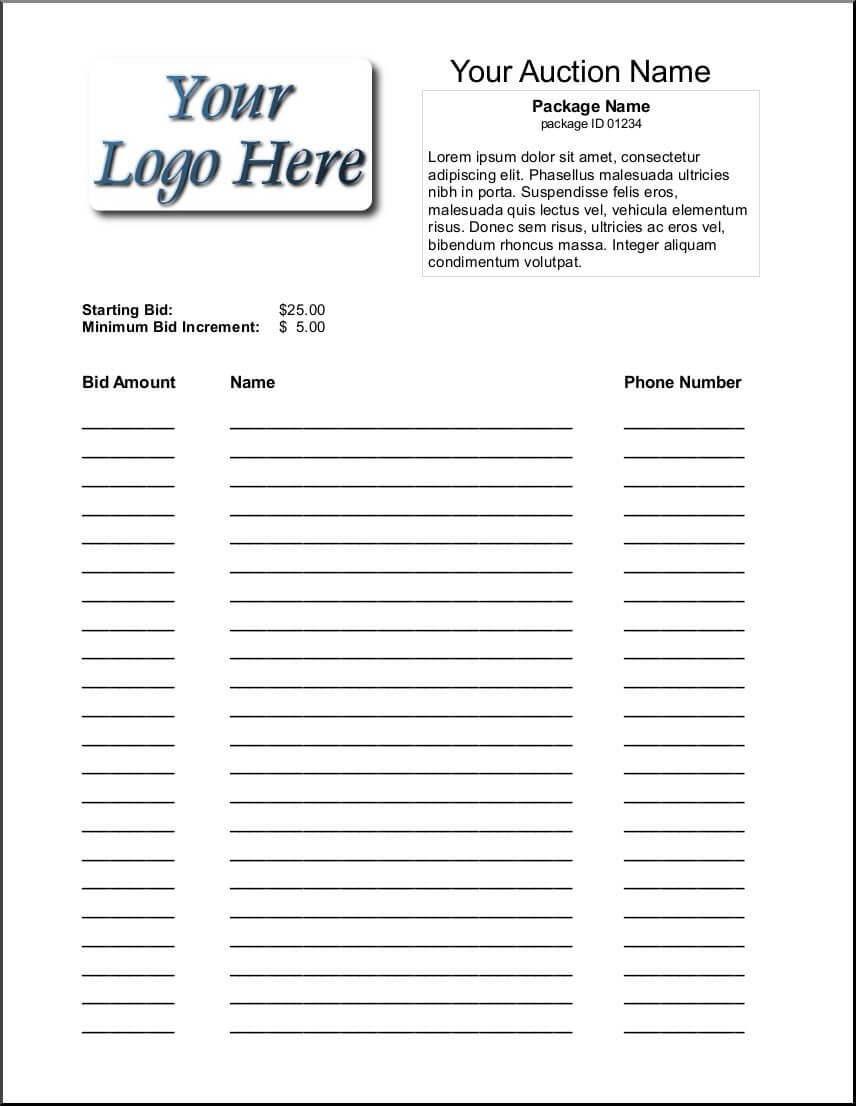 30 Bid Form Template Free   Andaluzseattle Template Example Regarding Auction Bid Cards Template