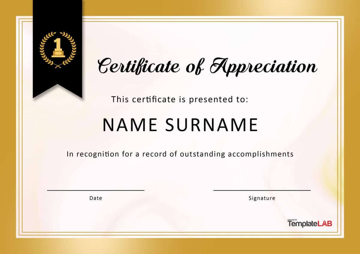 30 Free Certificate Of Appreciation Templates And Letters In Certificate Of Appreciation Template Doc