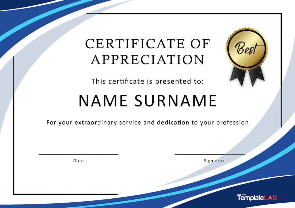 30 Free Certificate Of Appreciation Templates And Letters Throughout Recognition Of Service Certificate Template