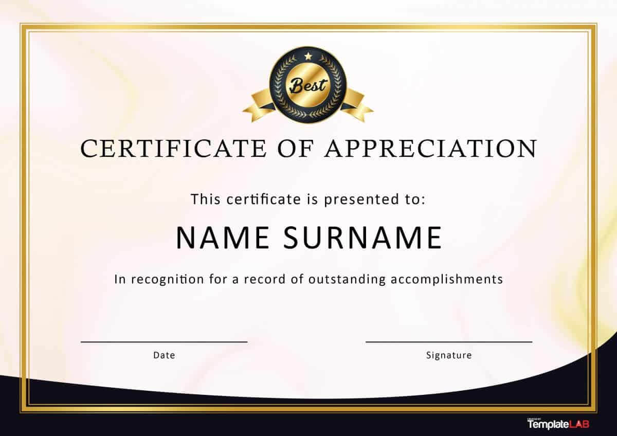 30 Free Certificate Of Appreciation Templates And Letters With Template For Recognition Certificate