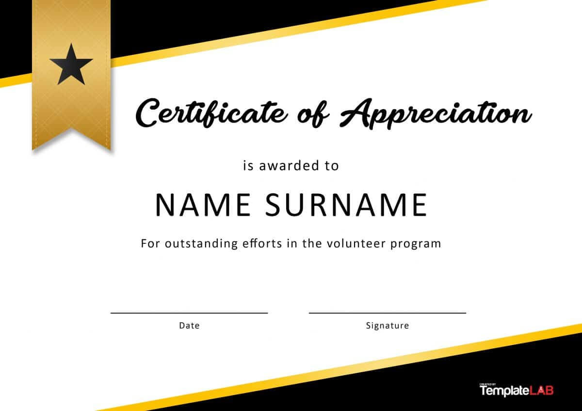 30 Free Certificate Of Appreciation Templates And Letters Within Volunteer Certificate Template