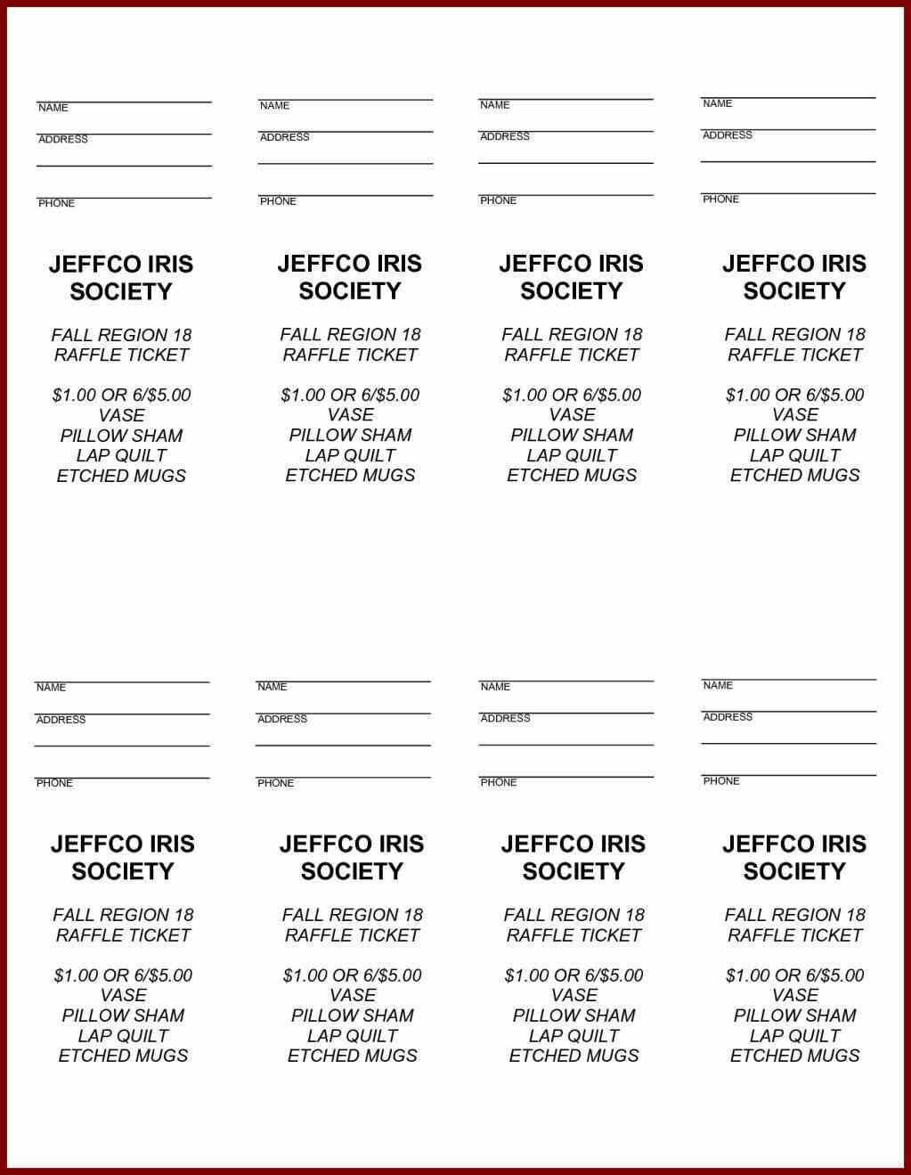 30 Sample Raffle Tickets Template | Andaluzseattle Template Intended For Free Raffle Ticket Template For Word