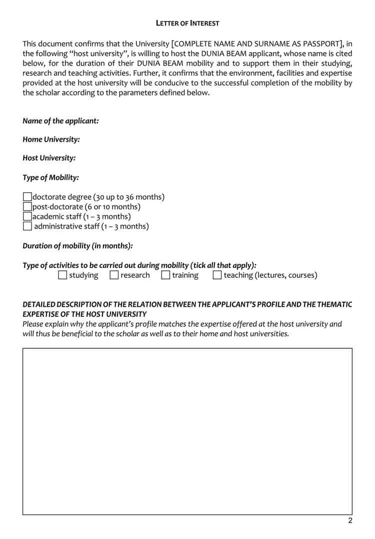 38+ Letter Of Interest Samples & Examples (Writing Guidelines) In Letter Of Interest Template Microsoft Word