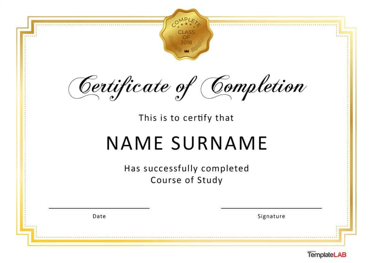 40 Fantastic Certificate Of Completion Templates [Word Inside Certification Of Completion Template