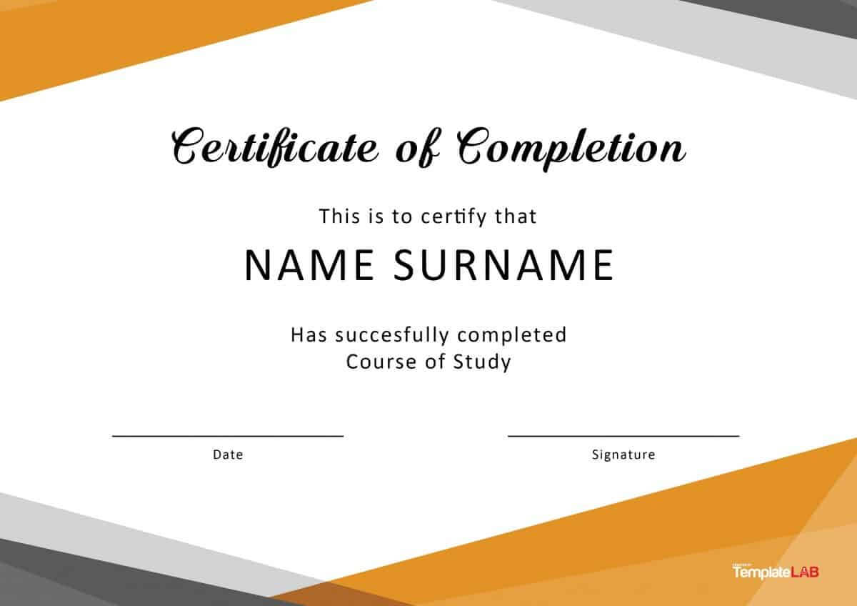 40 Fantastic Certificate Of Completion Templates [Word With Certificate Of Completion Template Free Printable