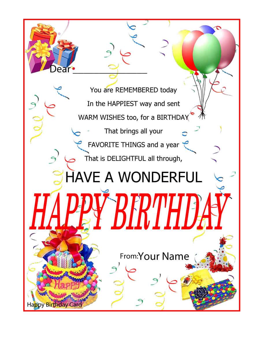 40+ Free Birthday Card Templates ᐅ Template Lab With Regard To Microsoft Word Birthday Card Template