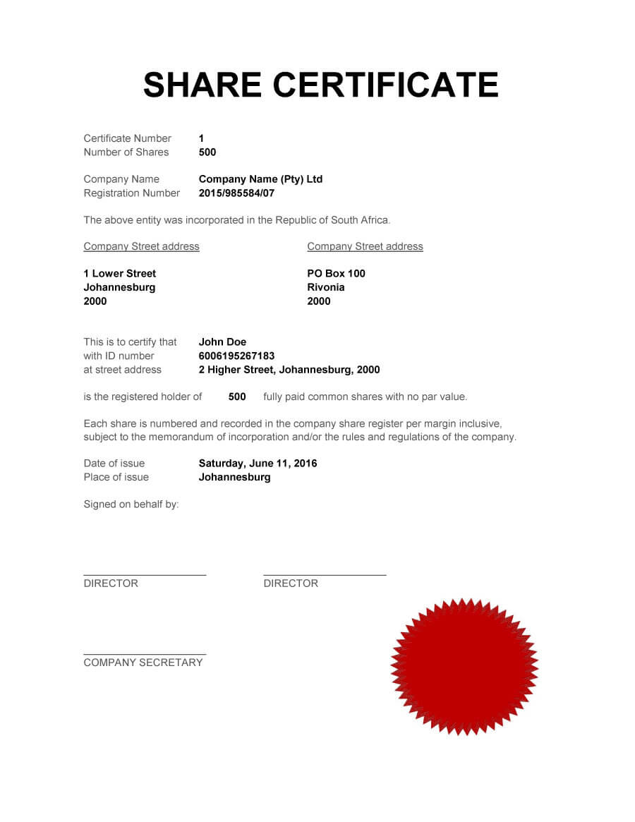 40+ Free Stock Certificate Templates (Word, Pdf) ᐅ Template Lab Throughout Shareholding Certificate Template