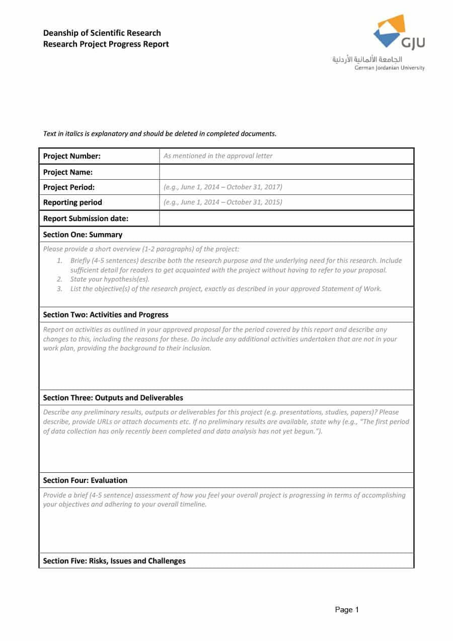 40+ Project Status Report Templates [Word, Excel, Ppt] ᐅ Throughout Research Project Progress Report Template