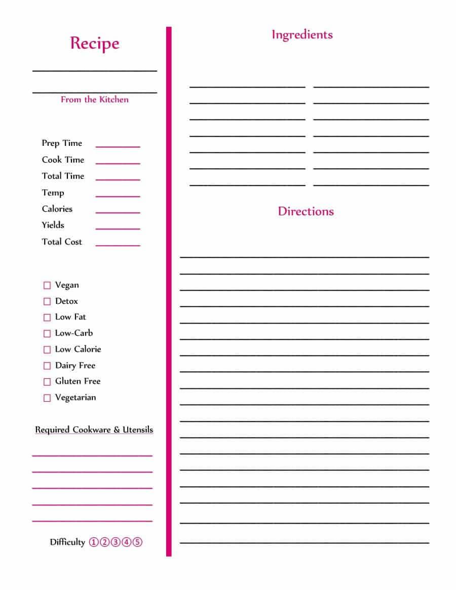 44 Perfect Cookbook Templates [+Recipe Book & Recipe Cards] Regarding Free Recipe Card Templates For Microsoft Word