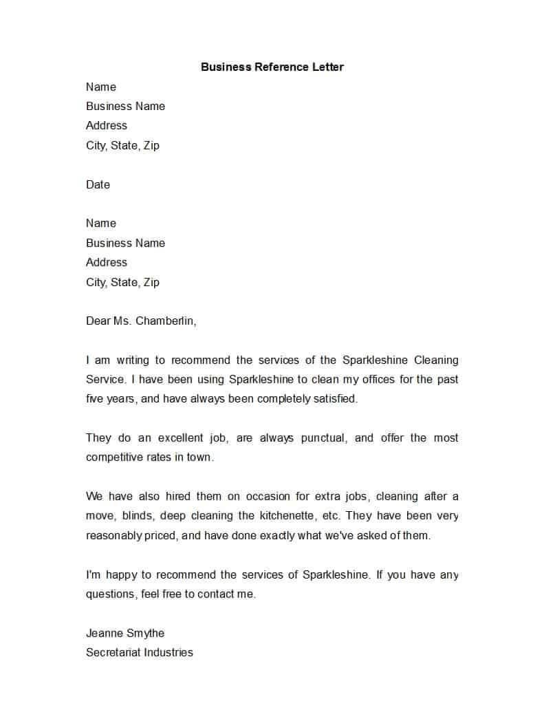 45 Awesome Business Reference Letters - Template Archive Throughout Business Reference Template Word