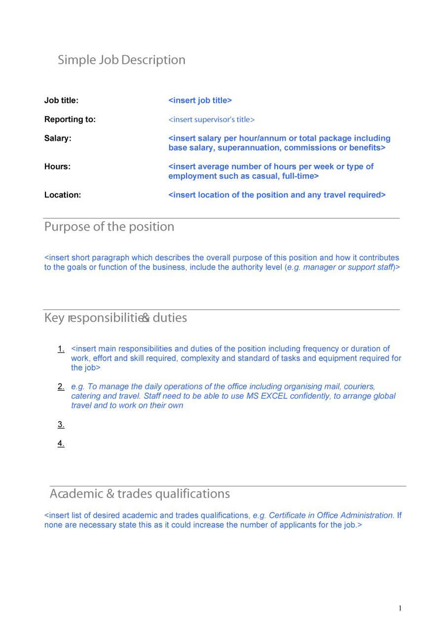 47 Job Description Templates & Examples ᐅ Template Lab Intended For Job Descriptions Template Word