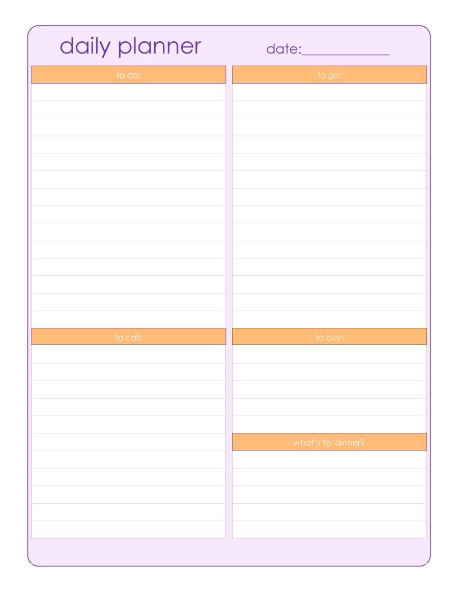47 Printable Daily Planner Templates (Free In Word/excel/pdf) In Printable Blank Daily Schedule Template