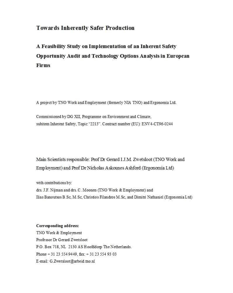 48 Feasibility Study Examples & Templates (100% Free) ᐅ In Technical Feasibility Report Template