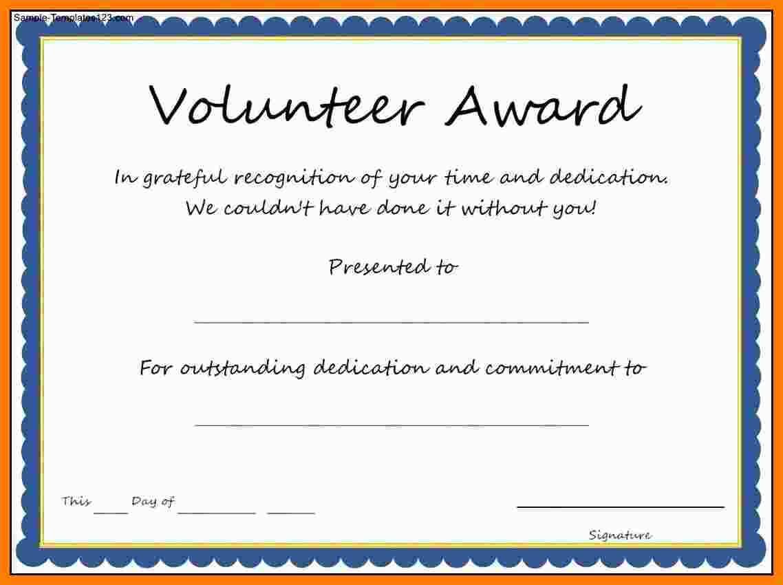5+ Free Volunteer Certificates | Marlows Jewellers Regarding Volunteer Award Certificate Template