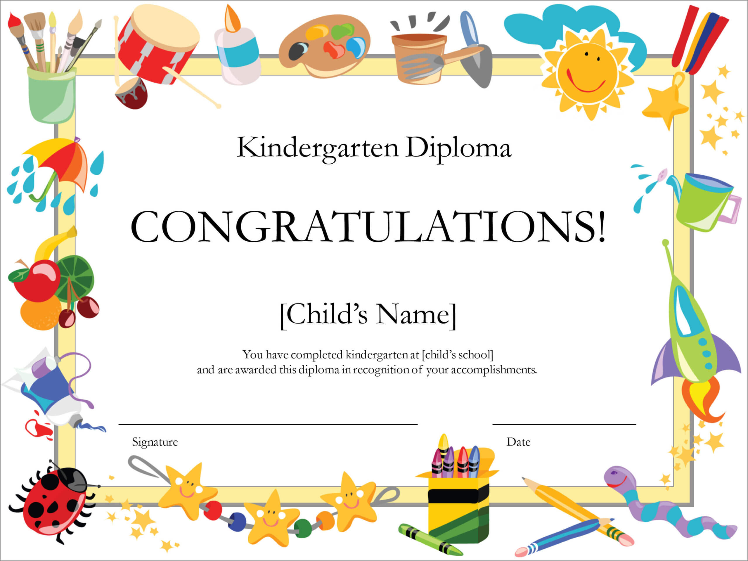 50 Free Creative Blank Certificate Templates In Psd Pertaining To Preschool Graduation Certificate Template Free