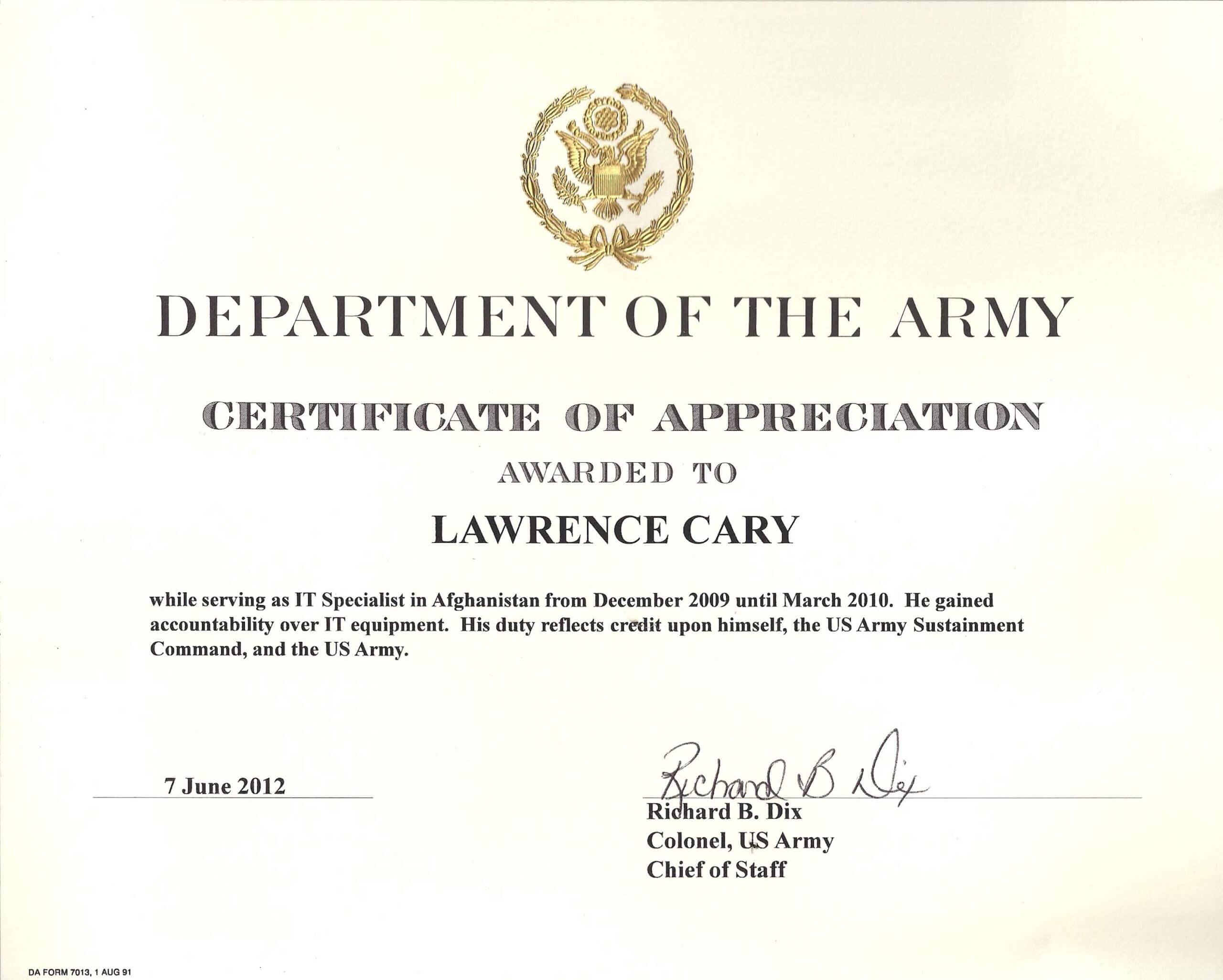 6+ Army Appreciation Certificate Templates - Pdf, Docx Regarding Army Certificate Of Achievement Template