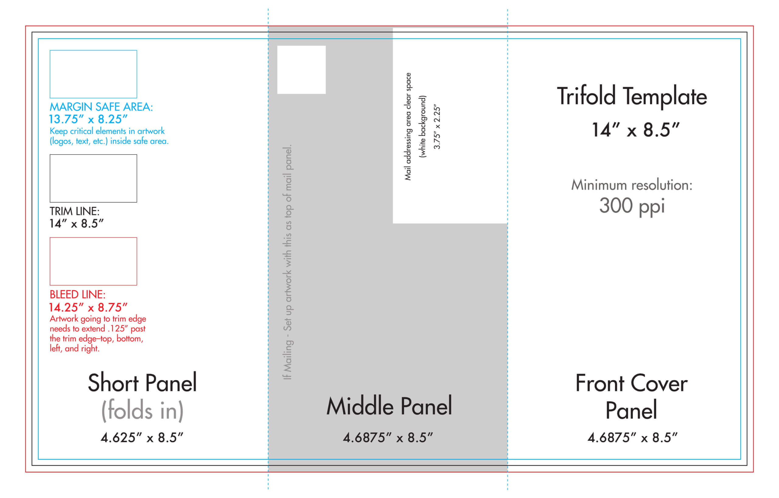 "8.5"" X 14"" Tri Fold Brochure Template - U.s. Press In 6 Sided Brochure Template"