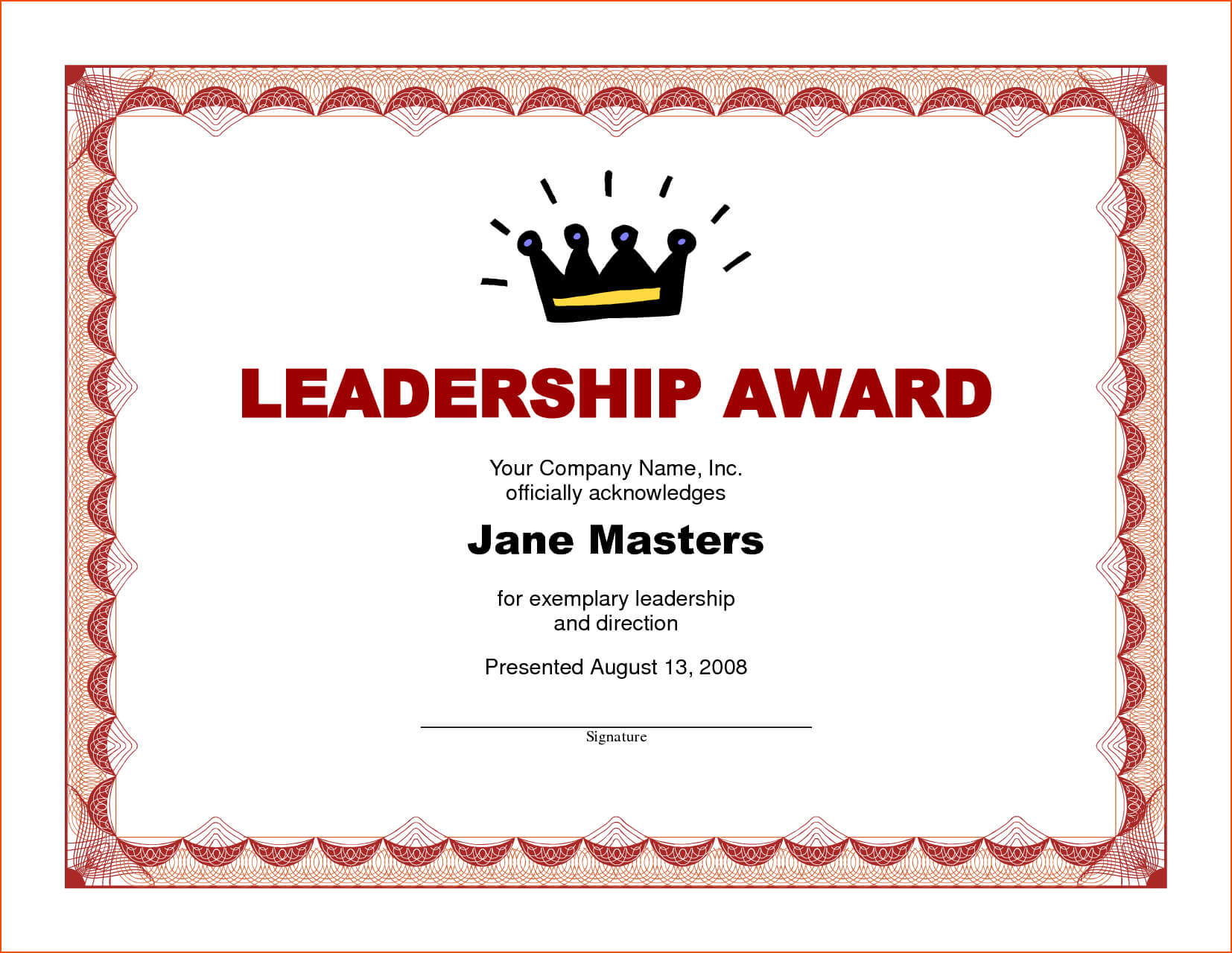 8+ Award Certificate Template Word - Bookletemplate For Leadership Award Certificate Template