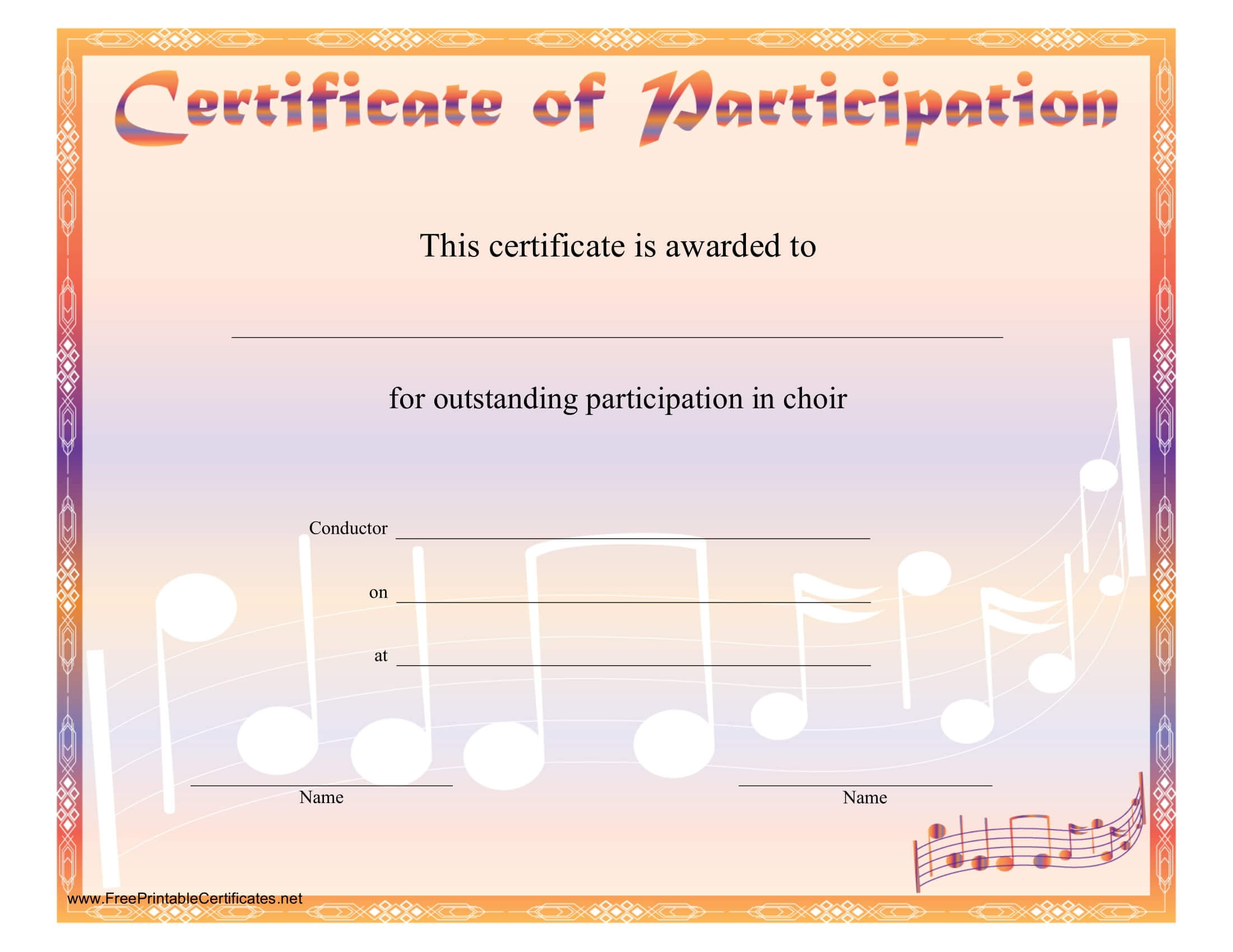 8+ Free Choir Certificate Of Participation Templates - Pdf With Regard To Choir Certificate Template