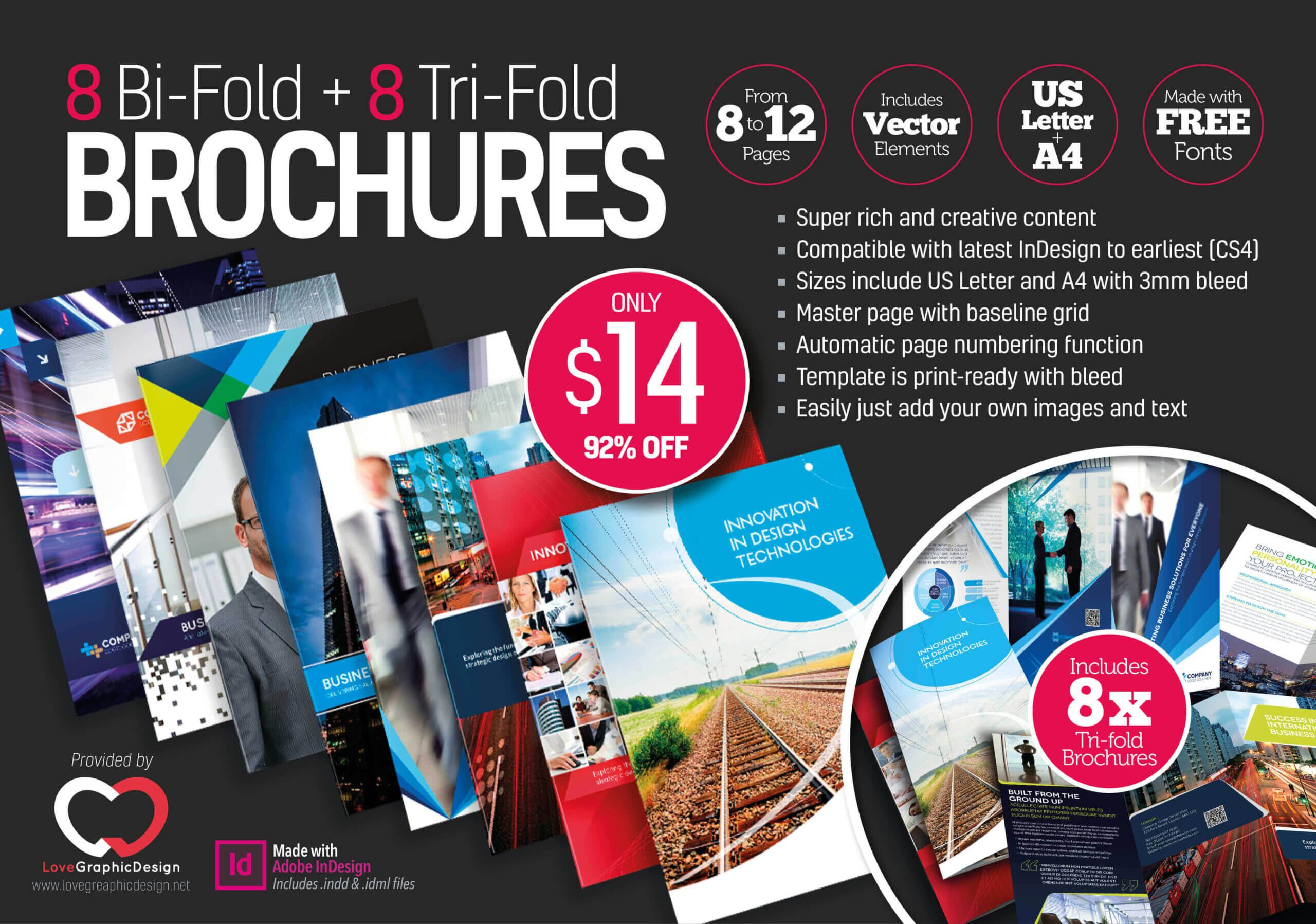 8 Print Ready Indesign Bi Fold & Tri Fold Brochure Templates For Adobe Indesign Tri Fold Brochure Template