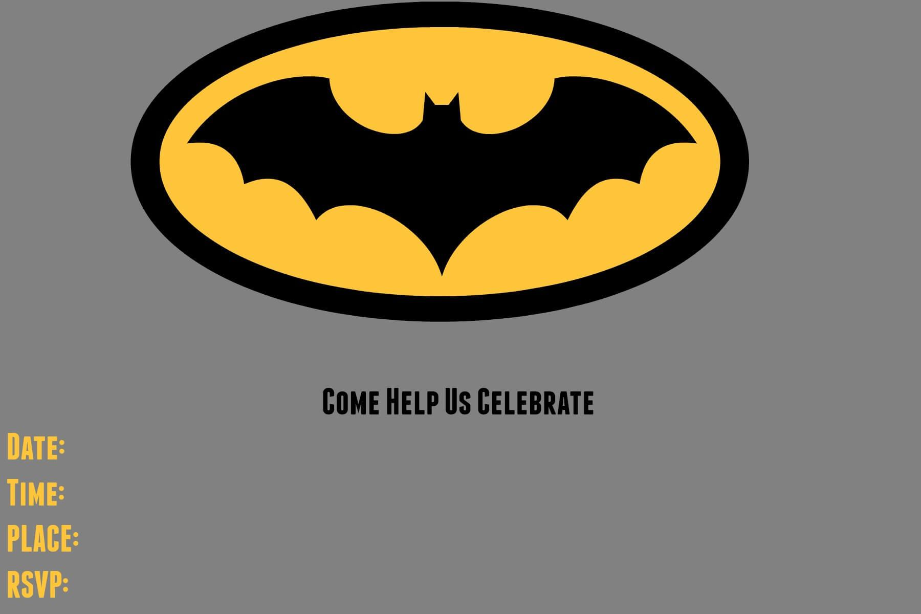 9 Awesome Batman Birthday Invitations | Kittybabylove Within Batman Birthday Card Template