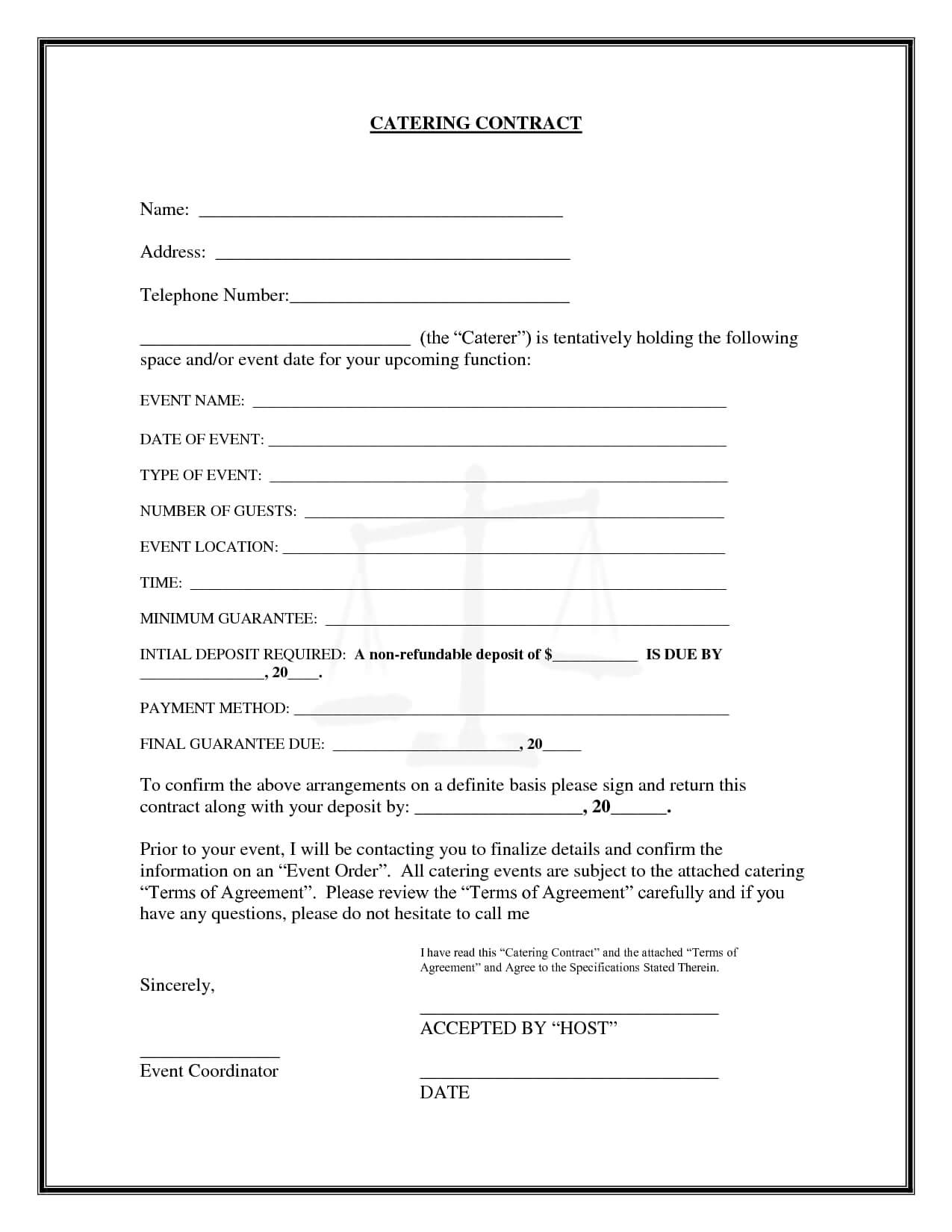 9+ Catering Contract Examples In Pdf, Word   Examples Intended For Catering Contract Template Word