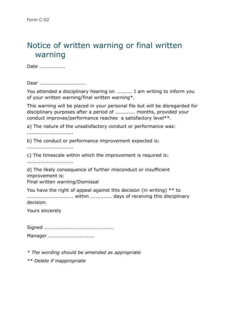 9+ Disciplinary Warning Letters – Free Samples, Examples Throughout Investigation Report Template Disciplinary Hearing
