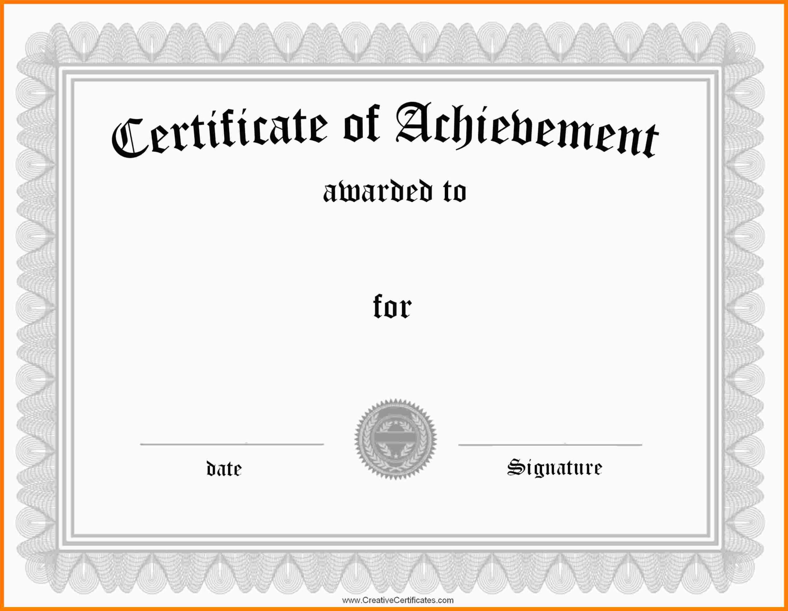9+ Free Word Certificate Templates   Marlows Jewellers With Certificate Of Achievement Template Word