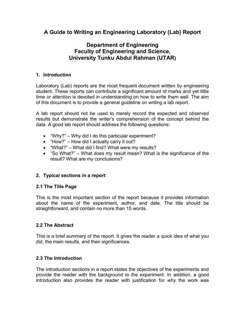 A Guide To Writing An Engineering Laboratory (Lab) Report Inside Engineering Lab Report Template
