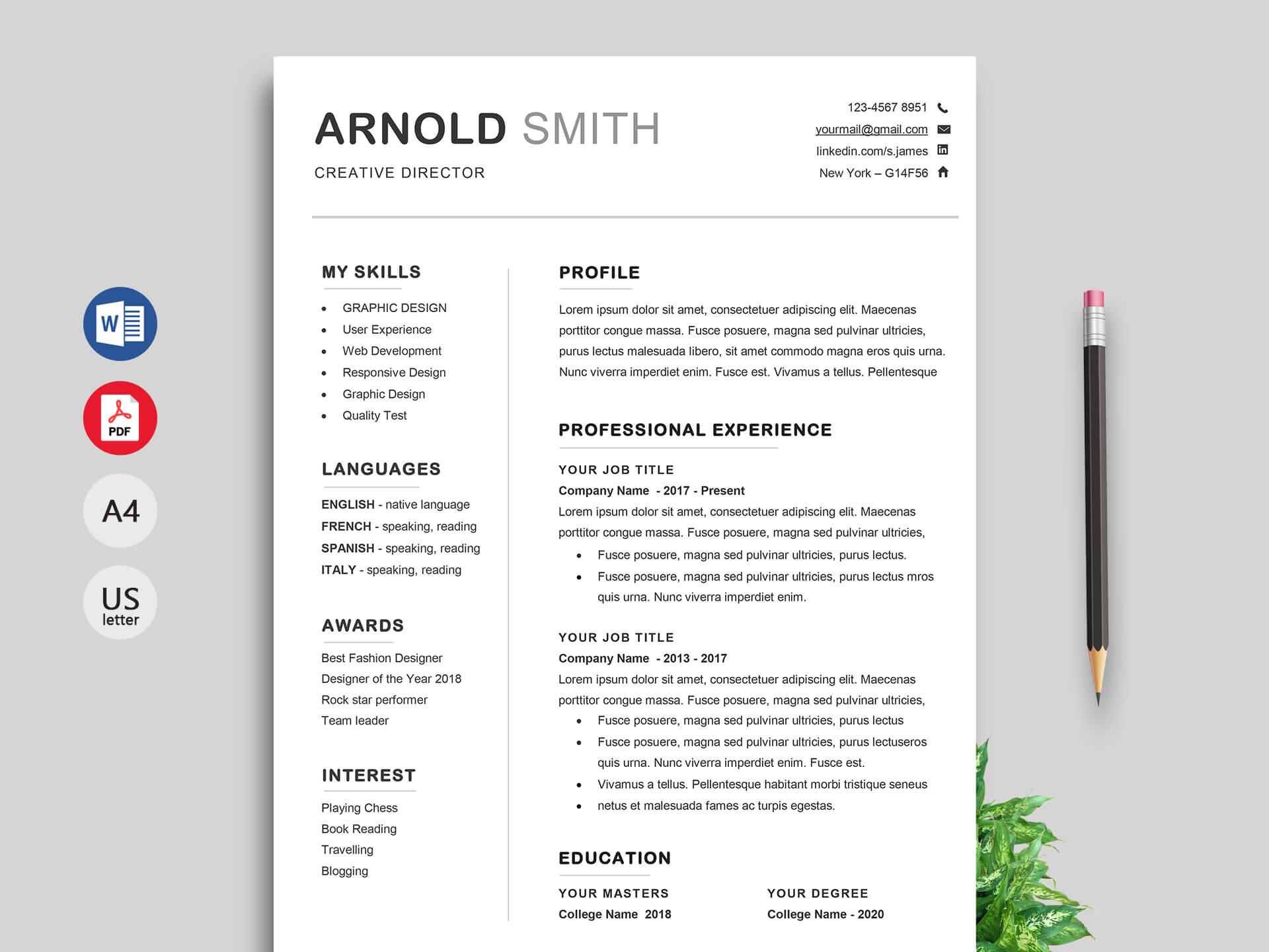 Ace Classic Cv Template Word - Resumekraft Inside Free Resume Template Microsoft Word