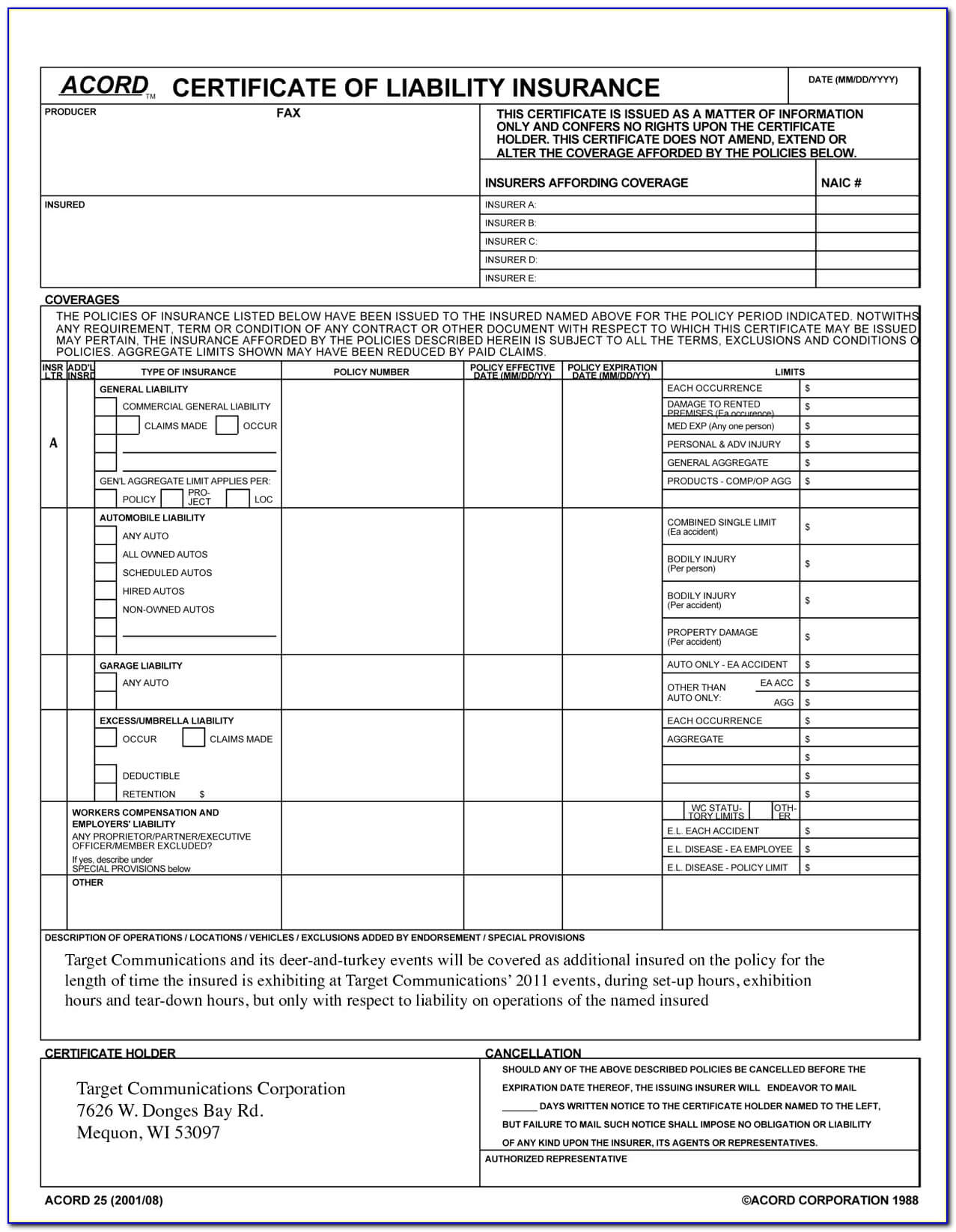 Acord Certificate Of Liability Insurance Template Top With Certificate Of Insurance Template