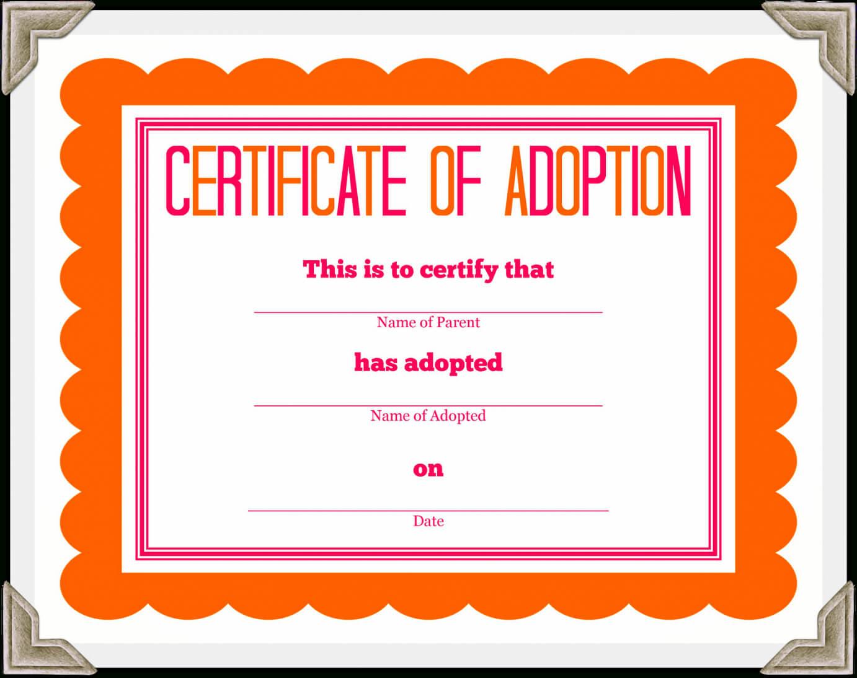 Adoption Certificate Template – Certificate Templates Inside Adoption Certificate Template