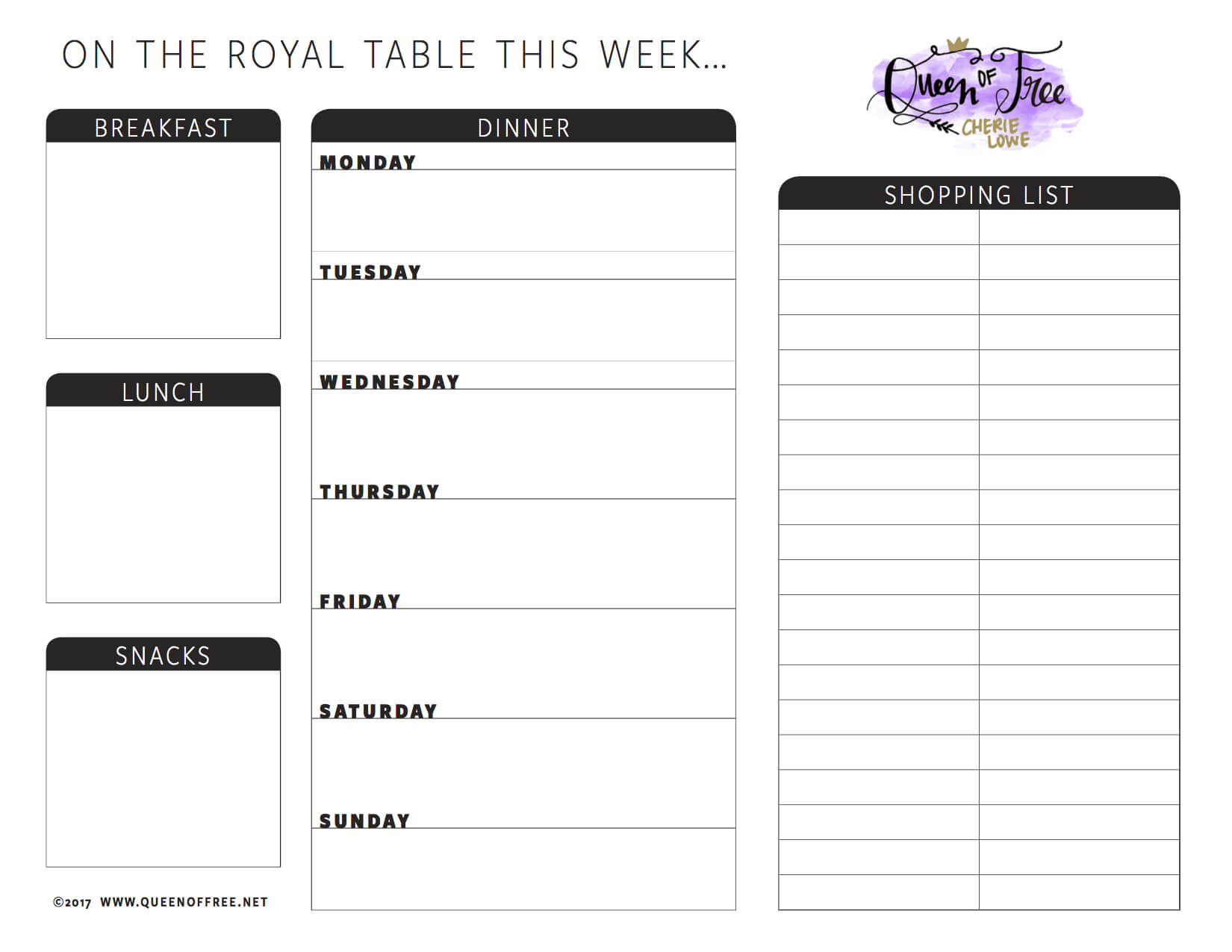 All New: Free Printable Meal Planner You Can Edit – Queen Of Inside Blank Meal Plan Template