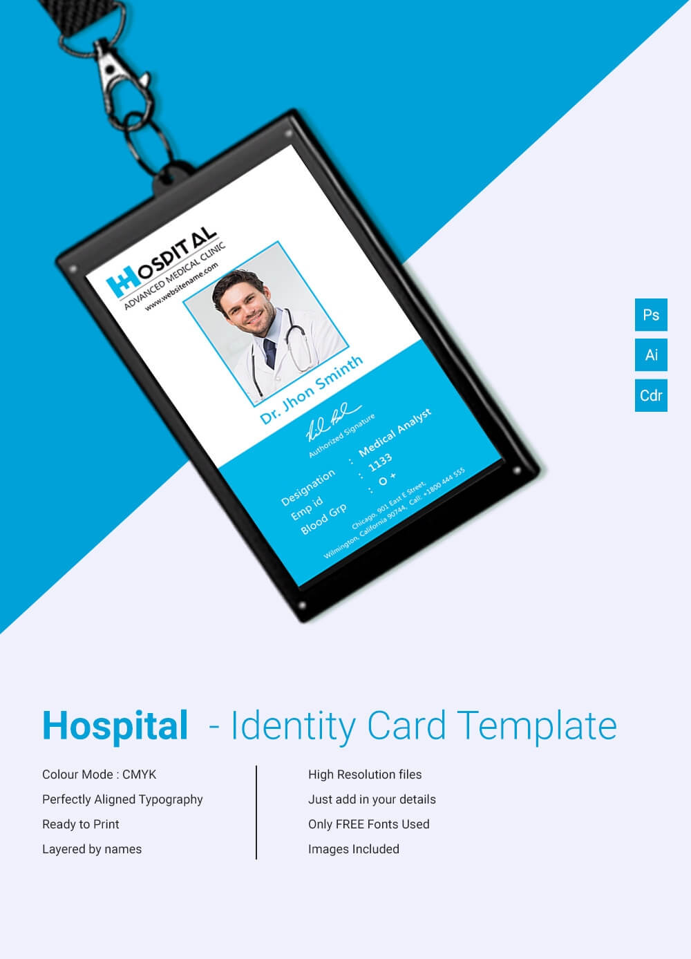 Amazing Hospital Identity Card Template Download | Free Regarding Id Card Template For Microsoft Word